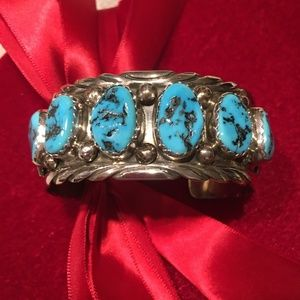 Men's Silver and Turquoise Cuff Bracelet